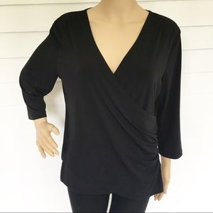 Coldwater Creek Black surplice blouse size medium